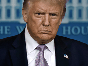 U.S. President Donald Trump answers question during a press conference at the White House in Washington, on August 5, 2020.