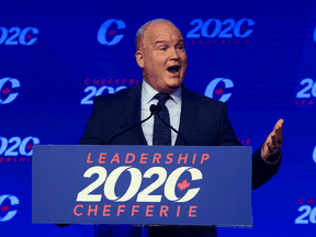 Conservative Party of Canada Leader Erin O'Toole speaks after he won the 2020 leadership race, in Ottawa, August 24, 2020.