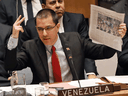 Venezuelan Foreign Minister Jorge Arreaza addresses the United Nations Security Council on January 26, 2019.
