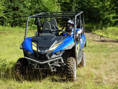 Taylor Goulard, Deerhurst Resort's marketing manager, goes for a spin in the forest.
