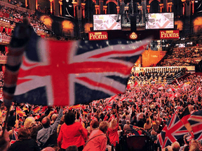 """The Last Night of the Proms at the Royal Albert Hall in London in 2013. """"I think it's time we stopped our cringing embarrassment about our history, about our traditions, and about our culture,"""" Prime Minister Boris Johnson said on Tuesday about the BBC's decision to axe popular patriotic songs from the event this year."""