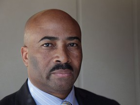 """Sen. Don Meredith is seen during an interview in Toronto, Thursday, March 16, 2017. Two women who worked for Meredith say the independent process established by the Senate to determine compensation for Meredith's harassment victims is """"totally unacceptable"""" and is re-victimizing them.THE CANADIAN PRESS/Colin Perkel"""