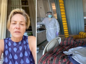 """Can YOU FACE THIS ROOM ALONE?"" asked Sharon Stone in an Instagram post published late Saturday, showing a picture of the hospital room in which she says her sister has been confined, struggling with COVID-19. She added: ""Wear a mask! For yourself and others. Please."""