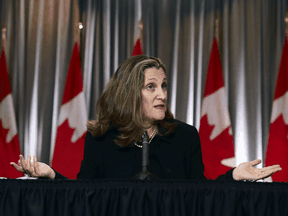 Finance Minister Chrystia Freeland holds a news conference on the second day of the Liberal cabinet retreat in Ottawa on Tuesday, Sept. 15, 2020.