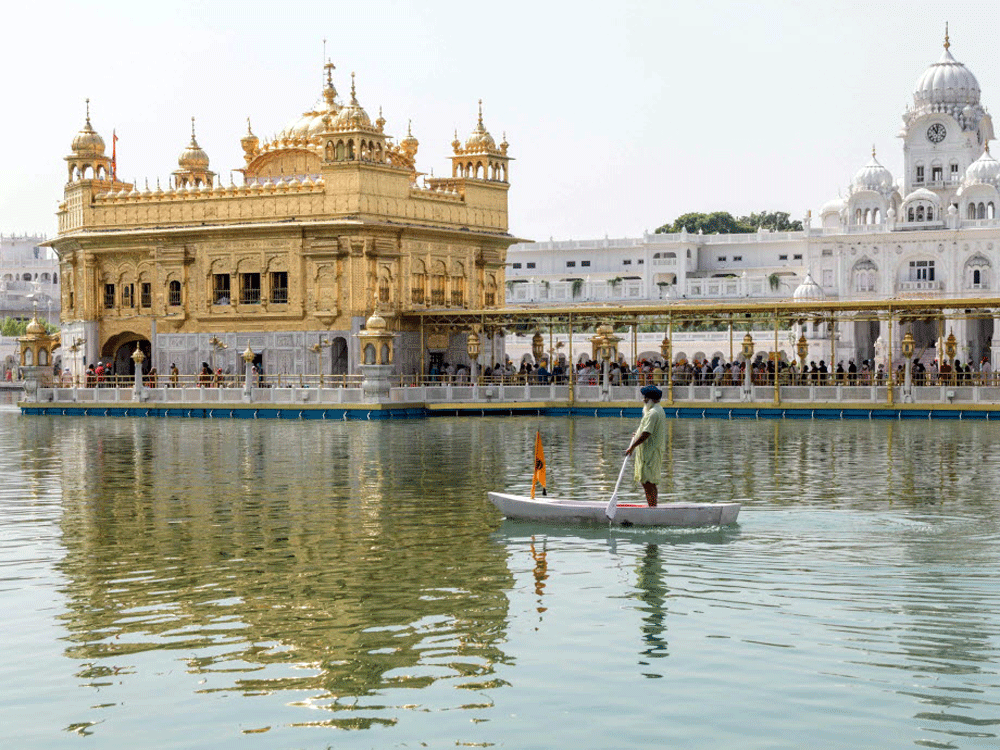 Devotees at the Golden Temple in Amritsar on September 12, 2020.