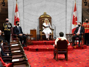 Canada's Governor General Julie Payette delivers the Throne Speech in the Senate on Sept. 23.