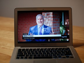 Erin O'Toole, leader of Canada's Conservative Party, speaks during a televised address as seen on a laptop computer in Ottawa, Ontario, Canada, on Wednesday, Sept. 23, 2020.