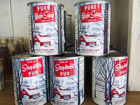 Maple syrup cans at a sugar shack on February 10, 2017 in Oka, Quebec.