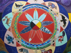 Indigenous artwork adorns the K'ai Taile Market in Fort Chipewyan, Alta. The grocery store is supported by the Athabasca Chipewyan First Nation.