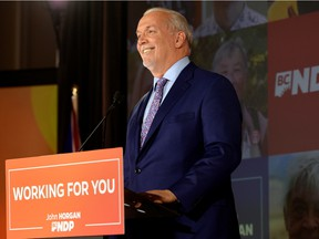 B.C. NDP leader John Horgan speaks at the party's provincial election night headquarters following a majority government win in Vancouver, British Columbia, Canada October 24, 2020.