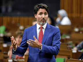 Prime Minister Justin Trudeau speaks during question period in the House of Commons, October 21, 2020.