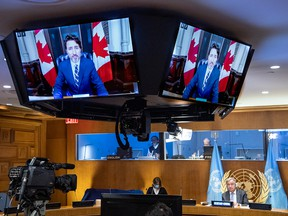Prime Minister  Justin Trudeau speaks virtually during a meeting on financing the 2030 Agenda for Sustainable Development in the era of COVID-19, during the 75th session of the United Nations General Assembly on Sept. 29, 2020, at UN headquarters in New York.