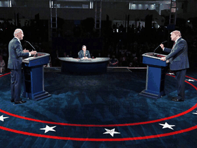 U.S. President Donald Trump, right, and Democratic presidential candidate Joe Biden take part in the first 2020 presidential debate in Cleveland, Ohio, on September 29, 2020.