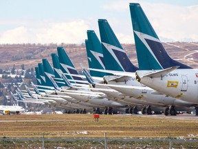 Sidelined WestJet Boeing 737 jets are stored on an unused runway at Calgary International Airport on Wednesday, October 14, 2020. PHOTO BY GAVIN YOUNG/POSTMEDIA.