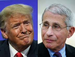 U.S. President Donald Trump in Phoenix, Arizona, June 23, 2020 and Anthony Fauci, director of the National Institute of Allergy and Infectious Diseases in Washington, DC on April 29, 2020.