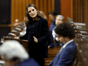 Finance Minister Chrystia Freeland speaks in the House of Commons after unveiling her first fiscal update, in Ottawa, November 30, 2020.