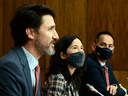 Prime Minister Justin Trudeau, Chief Public Health Officer Dr. Theresa Tam and Deputy Chief Public Health Officer Dr. Howard Njoo provide an update on the COVID-19 pandemic during a press conference on Friday, Nov. 13, 2020.
