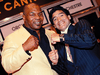 Former U.S. boxing champion Mike Tyson and former Argentine football player Diego Maradona at Cannes in 2008.