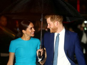 Harry Meghan arrive at the Endeavour Fund Awards in London, on March 5.