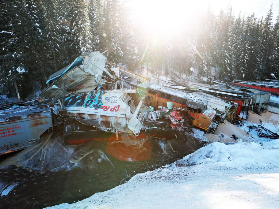 The scene of the Canadian Pacific Railway freight train derailment near Field, B.C.,that killed the train's conductor, engineer and a conductor trainee.