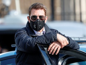 """Actor Tom Cruise is seen on the set of """"Mission Impossible 7"""" while filming in Rome, Italy October 13, 2020."""