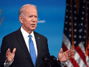U.S. President-elect Joe Biden speaks in a televised address to the nation after the Electoral College formally confirmed his victory over Donald Trump in the 2020 U.S. presidential election, December 14, 2020.