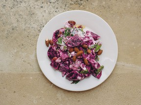 Beet salad with yogurt, carob molasses and almonds from Aegean
