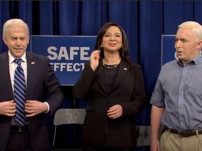"(L-r) Alex Moffat, Maya Rudolph and Beck Bennet on ""Saturday Night Live."" MUST CREDIT: NBC  NBC"
