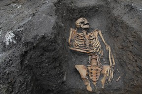 The remains of an individual buried in the Augustinian friary, taken during the 2016 excavation on the University of Cambridge's New Museums site.