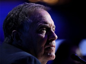 Head coach Bill Belichick of the New England Patriots talks to the media during Super Bowl LIII Opening Night at State Farm Arena on January 28, 2019 in Atlanta, Georgia.