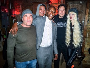 Dave Chappelle was photographed with Elon Musk, Joe Rogan and Grimes a few days before he tested positive for COVID-19. The photo was posted by @seekaychin on Tuesday, Jan. 19.