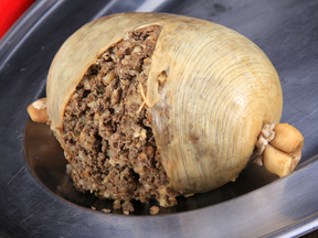 A traditional Scottish haggis, which is absolutely illegal in Canada.