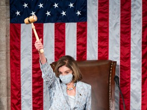 Speaker of the House Nancy Pelosi on the House floor in the U.S. Capitol after becoming Speaker of the 117th Congress in Washington, DC on Jan. 3, 2021.