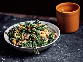 Warm kale, white bean and mushroom salad with chili tahini from The Flavor Equation