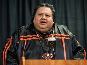 """Tyler White, CEO of Siksika Health Services, speaks during a press conference regarding the February 1st """"Every Child Matters"""" game presented by Siksika Health Services in partnership with Siksika Child & Family Services and First Nations Health Consortium on Monday, January 27, 2020."""