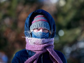 """This is the first time I ever had icicles on my eyebrows,"" said Reanne Sereda as she went for a walk by the South Saskatchewan River during extreme cold in Saskatoon on Feb. 5, 2021."