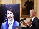 U.S. President Joe Biden and Prime Minister Justin Trudeau, appearing via video conference call, give closing remarks at the end of their virtual bilateral meeting from the White House, February 23, 2021.
