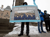 Protesters gather outside the parliament buildings in Ottawa, Monday, February 22, 2021 before a vote to recognize China's actions against ethnic Muslim Uighurs as genocide passed unanimously.