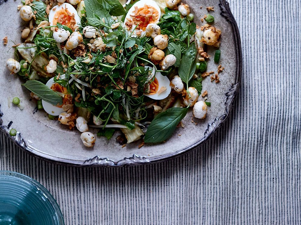 Cook this: Spicy eggplant salad with peanuts, herbs, eggs and jaggery fox nuts from Jikoni