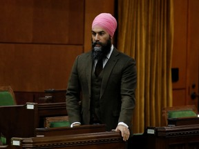 Canada's New Democratic Party leader Jagmeet Singh speaks during Question Period in the House of Commons on Parliament Hill in Ottawa, Ontario, Canada February 3, 2021.