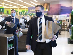 Premier Jason Kenney held a news teleconference from Belmont Sobeys in northeast Edmonton on Feb. 10, 2021.