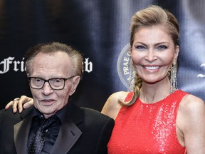 Television host Larry King and his wife actress Shawn Southwick King attend the Friars Club Entertainment Icon Award ceremony at the Ziegfeld Ballroom on November 12, 2018, in New York City.