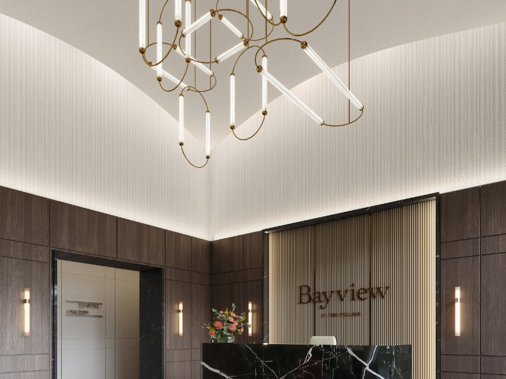 Suite finishes are the work of II BY IV Design, who are also behind the dramatic, double-high-ceiling lobby.