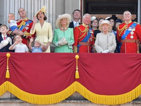The Royal Family on the balcony of Buckingham Palace to watch a fly-past of aircraft by the Royal Air Force, in London on June 8, 2019.
