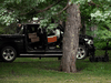 Police investigate Corey Hurren's truck on the grounds of Rideau Hall using a robot, Thursday, July 2, 2020.