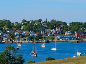 Looking across the harbour at the town of Lunenburg, Nova Scotia.