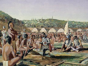 A depiction of Jacques Cartier visiting the village of Hochelaga.