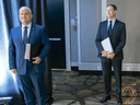 Erin O'Toole and Peter MacKay on June 17, 2020, before the French debate during the Conservative leadership race.
