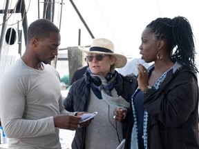 Kari Skogland directs Anthony Mackie and Adepero Oduye in Falcon and the Winter Soldier.