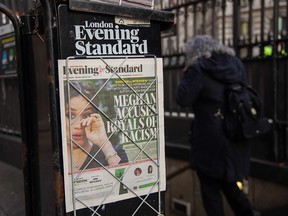 The front page of the London Evening Standard newspaper is devoted to an article about Meghan Markle and the broadcast interview she and Prince Harry had with Oprah Winfrey, on March 8, 2021.
